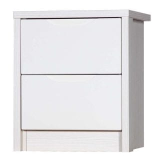 2 Drawer Bedside - White Avola with Cream Gloss-0