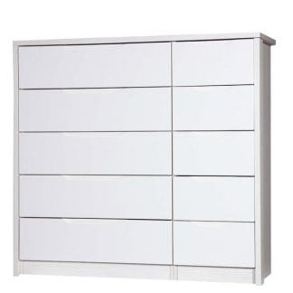 5 Drawer Double Chest - White Avola with Cream Gloss-0