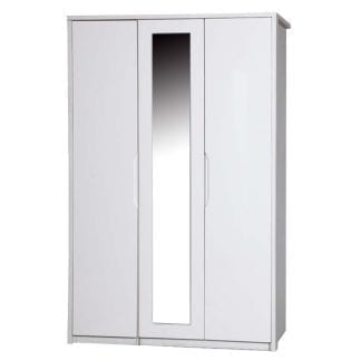 3 Door Robe with Mirror - Cream with Champagne Avola-0