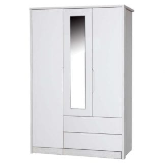 3 Door Combi Robe with Mirror - White Avola with Cream Gloss-0