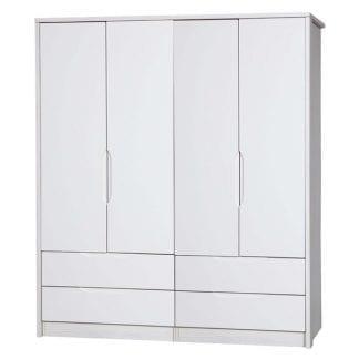 4 Door Combi Robe - White Avola with Cream Gloss-0