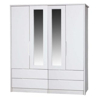 4 Door Combi Robe with 2 Mirrors - White Avola with Cream Gloss-0