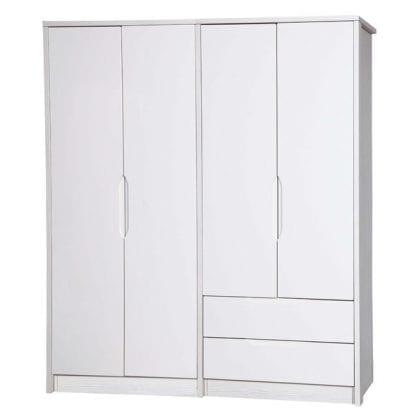 4 Door Combi + Reg Robe - White Avola with Cream Gloss-0