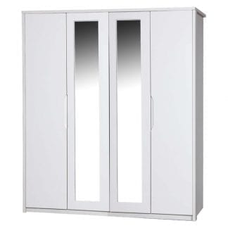 4 Door Robe with 2 Mirrors - White Avola with Cream Gloss-0