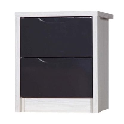 2 Drawer Bedside - White Avola with Grey Gloss-0