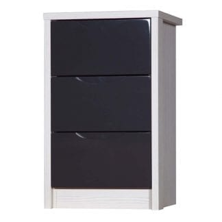 3 Drawer Bedside - White Avola with Grey Gloss-0