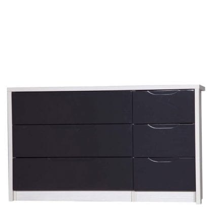 3 Drawer Double Chest - White Avola with Grey Gloss-0