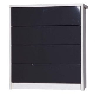 4 Drawer Chest - White Avola with Grey Gloss-0