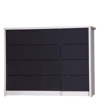 4 Drawer Double Chest - White Avola with Grey Gloss-0