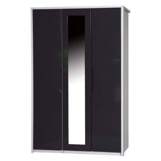 3 Door Robe with Mirror - White Avola with Grey Gloss-0