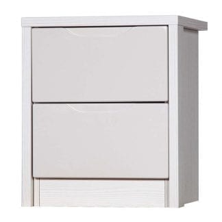 2 Drawer Bedside - White Avola with Sand Gloss-0