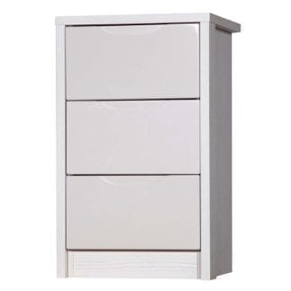 3 Drawer Bedside - White Avola with Sand Gloss-0