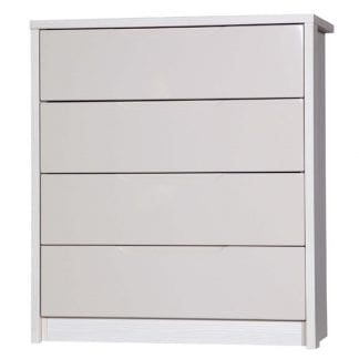 4 Drawer Chest - White Avola with Sand Gloss-0