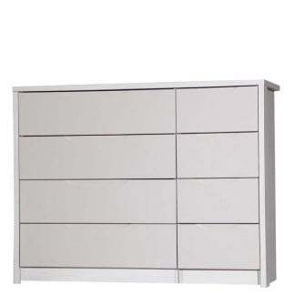 4 Drawer Double Chest - White Avola with Sand Gloss-0