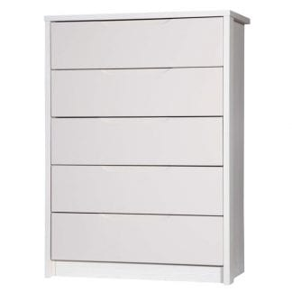 5 Drawer Chest - White Avola with Sand Gloss-0
