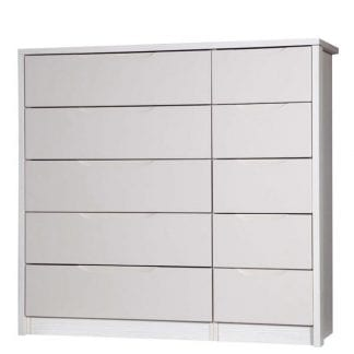 5 Drawer Double Chest - White Avola with Sand Gloss-0