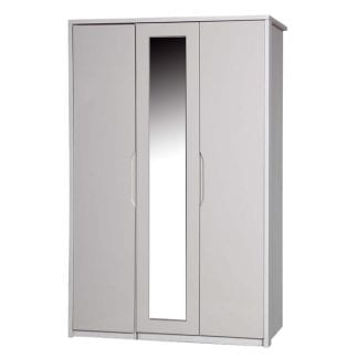 3 Door Robe with Mirror - White Avola with Sand Gloss-0