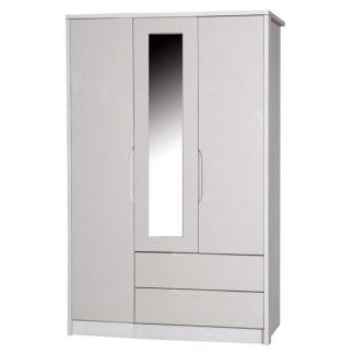 3 Door Combi Robe with Mirror - White Avola with Sand Gloss-0
