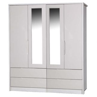 4 Door Combi Robe with 2 Mirrors - White Avola with Sand Gloss-0