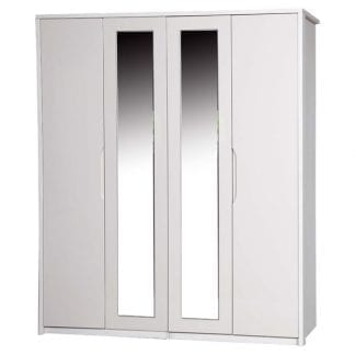 4 Door Robe with 2 Mirrors - White Avola with Sand Gloss-0