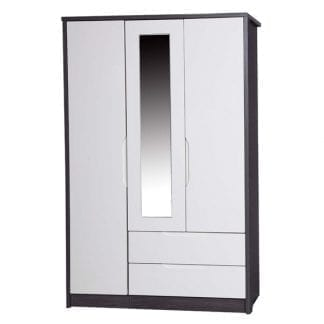 3 Door Combi Robe with Mirror - Grey Avola with Cream Gloss-0