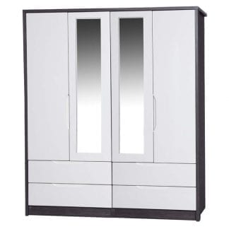 4 Door Combi Robe with 2 Mirrors - Grey Avola with Cream Gloss-0