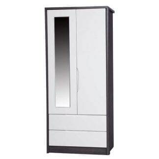 2 Drawer Combi Robe with Mirror - Grey Avola with Cream Gloss-0