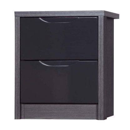 2 Drawer Bedside - Grey Avola with Grey Gloss-0
