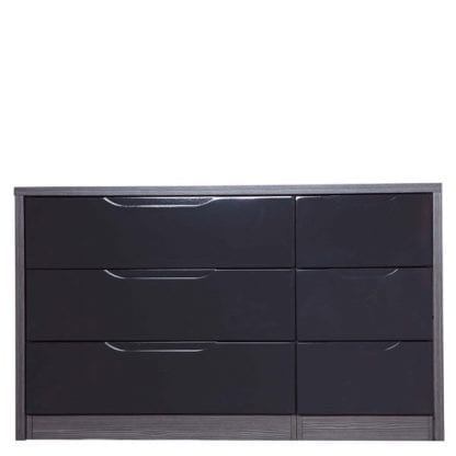 3 Drawer Double Chest - Grey Avola with Grey Gloss-0