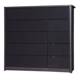 5 Drawer Double Chest - Grey Avola with Grey Gloss-0