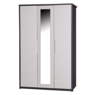 3 Door Robe with Mirror - Grey Avola with Sand Gloss-0