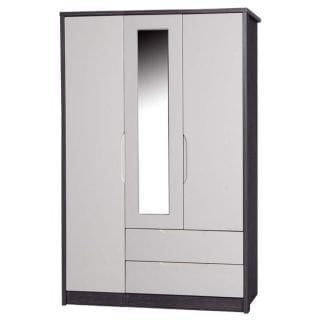 3 Door Combi Robe with Mirror - Grey Avola with Sand Gloss-0