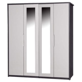 4 Door Robe with 2 Mirrors - Grey Avola with Sand Gloss-0