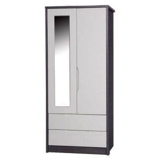 2 Drawer Combi Robe with Mirror - Grey Avola with Sand Gloss-0