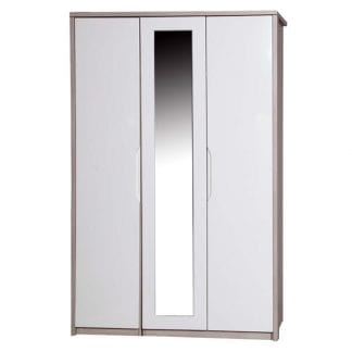 3 Door Robe with Mirror - Champagne Avola with Cream Gloss-0