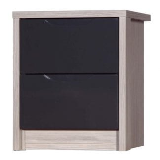 2 Drawer Bedside - Champagne Avola with Grey Gloss-0