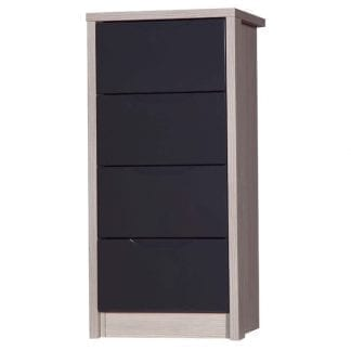 4 Drawer Tall Boy - Champagne Avola with Grey Gloss-0