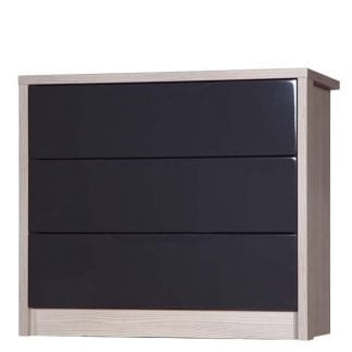 3 Drawer Chest - Champagne Avola with Grey Gloss-0