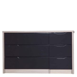3 Drawer Double Chest - Champagne Avola with Grey Gloss-0