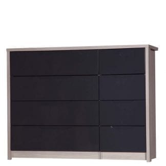 4 Drawer Double Chest - Champagne Avola with Grey Gloss-0