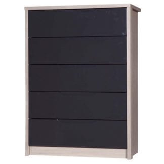 5 Drawer Chest - Champagne Avola with Grey Gloss-0