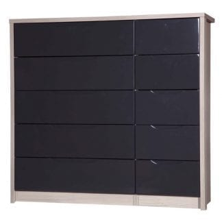5 Drawer Double Chest - Champagne Avola with Grey Gloss-0