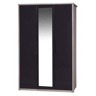 3 Door Robe with Mirror - Champagne Avola with Grey Gloss-0
