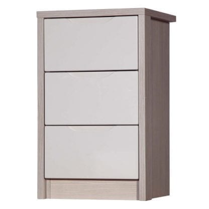 3 Drawer Bedside - Champagne Avola with Sand Gloss-0
