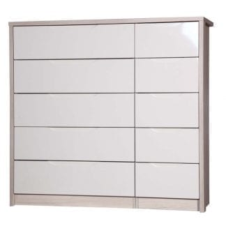 5 Drawer Double Chest - Champagne Avola with Sand Gloss-0
