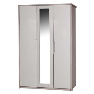 3 Door Robe with Mirror - Champagne Avola with Sand Gloss-0