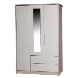 3 Door Combi Robe with Mirror - Champagne Avola with Sand Gloss-0