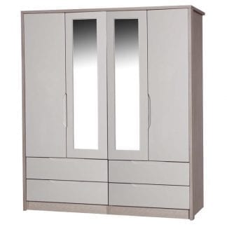 4 Door Combi Robe with 2 Mirrors - Champagne Avola with Sand Gloss-0