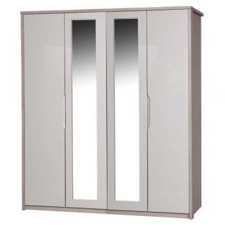 4 Door Robe with 2 Mirrors - Champagne Avola with Sand Gloss-0