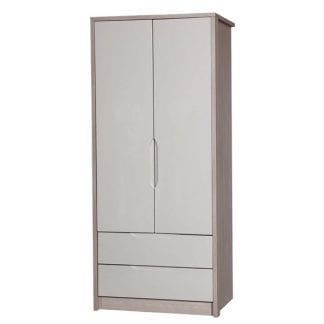 2 Drawer Combi Robe - Champagne Avola with Sand Gloss-0